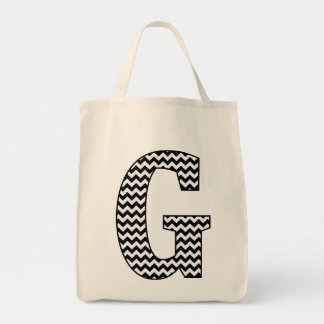 "Black and White chevron ""G"" Monogram Tote Bag"