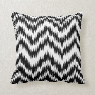 Black and White Chevron Ikat Pattern Pillow