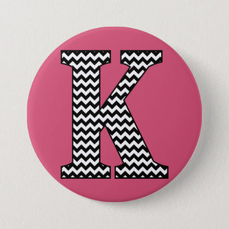 "Black and White Chevron ""K"" Monogram 3 Inch Round Button"