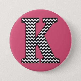"Black and White Chevron ""K"" Monogram 3 Inch Round Button"