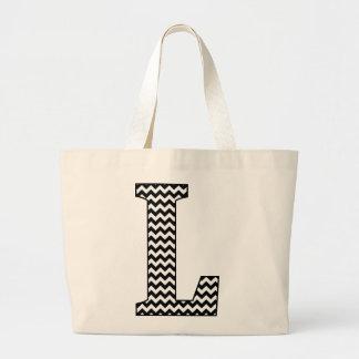 "Black and White Chevron ""L"" Monogram Tote Bag. Jumbo Tote Bag"