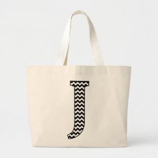 Black and White Chevron Letter J Monogram Jumbo Tote Bag
