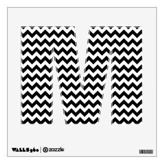 Black and White Chevron Letter M Wall Decal