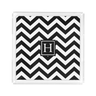 Black and White Chevron Monogram Serving Tray