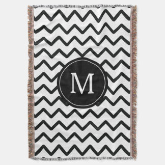 Black and White Chevron Monogram Throw