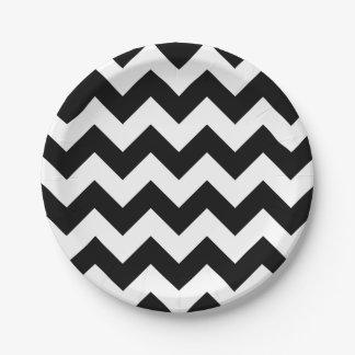 Black and White Chevron Paper Plate 7 Inch Paper Plate