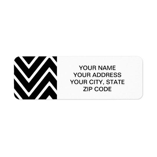 Black and White Chevron Pattern 2 Return Address Label