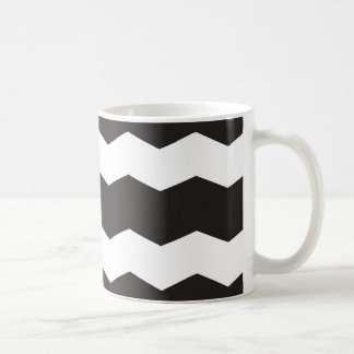 Black and White Chevron Pattern Background Coffee Mug