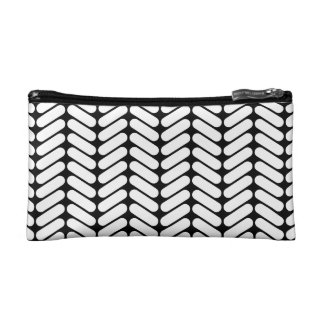 Black and White Chevron Pattern, Like Knitting. Makeup Bag