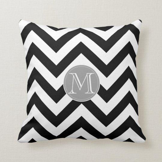 Black and white Chevron Pattern monogram Throw Pillow