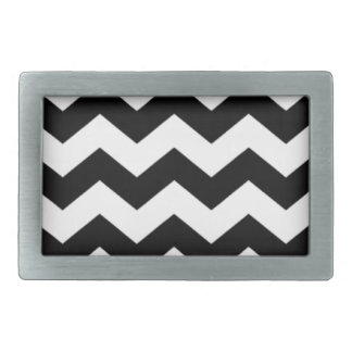 Black and White Chevron Pattern Rectangular Belt Buckles