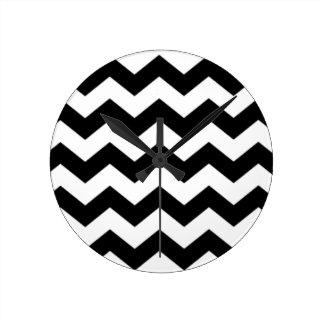 Black and White Chevron Pattern Round Clock