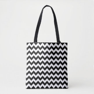 Black and white chevron pattern tote bag