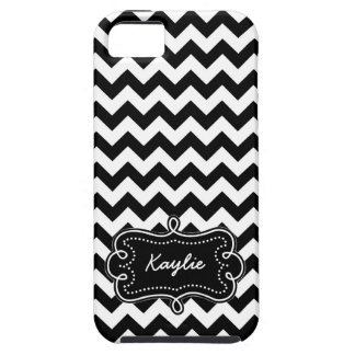 Black and White Chevron Pattern with Name Tag iPhone 5 Covers