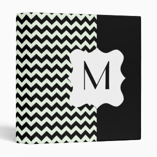 Black and White Chevron Personalized Monogram 3 Ring Binders