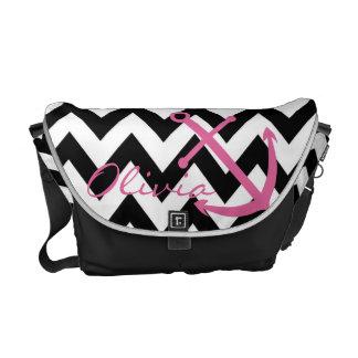 Black and White Chevron Pink Anchor Diaper Bag Courier Bag