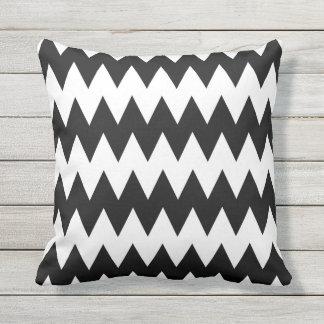 Black and White Chevron Stripe Outdoor Pillow