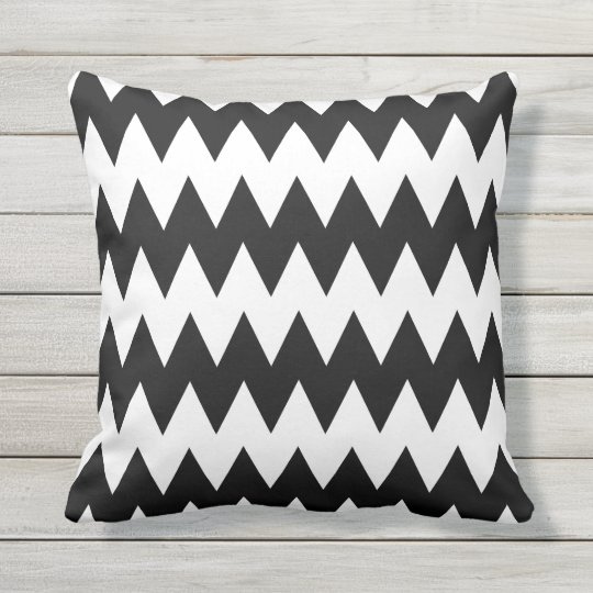 Black and White Chevron Stripe Outdoor Pillow