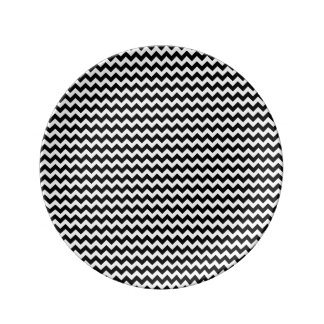 Black and White Chevron Stripe Porcelain Plates