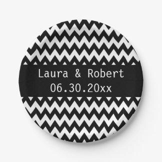 Black and White Chevron Wedding Plates