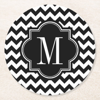 Black and White Chevron with Black Monogram Round Paper Coaster