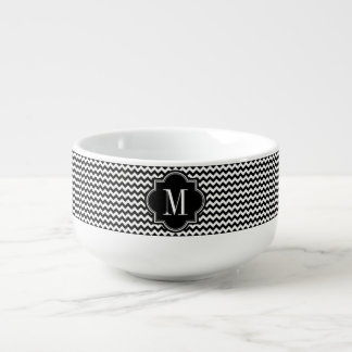 Black and White Chevron with Black Monogram Soup Mug