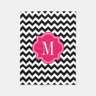 Black and White Chevron with Hot Pink Monogram Fleece Blanket