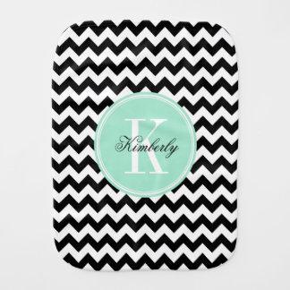 Black and White Chevron with Mint Monogram Baby Burp Cloth