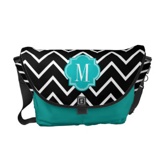 Black and White Chevron with Teal Monogram Commuter Bags