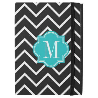 "Black and White Chevron with Teal Monogram iPad Pro 12.9"" Case"