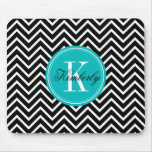 Black and White Chevron with Teal Monogram Mousepads