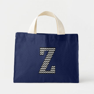 "Black and White Chevron ""Z"" Monogram Tote Bag."