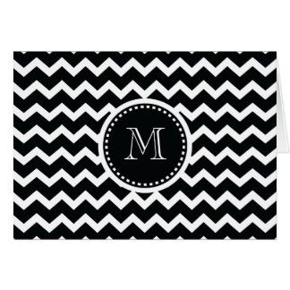 Black and White Chevron Zig Zag Retro Elegance Card
