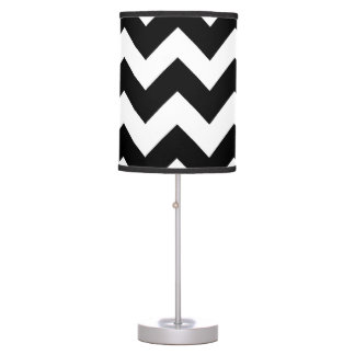 Black and White Chevron Zigzag Pattern 2 Table Lamp