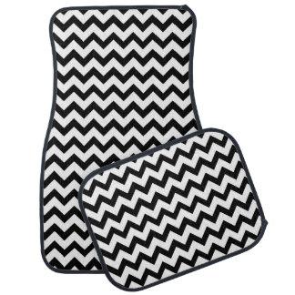 Black And White Chevron Zigzag Pattern Car Mat