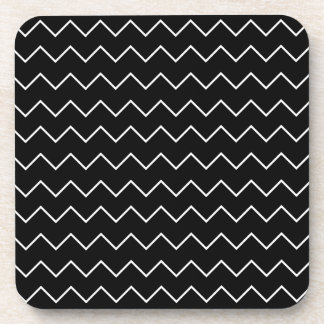 Black And White Chevron Zigzag Pattern Coaster