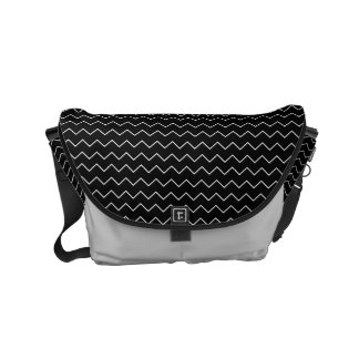 Black And White Chevron Zigzag Pattern Courier Bag