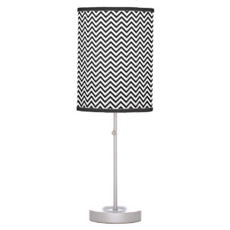 Black and White Chevron Zigzag Pattern Table Lamps
