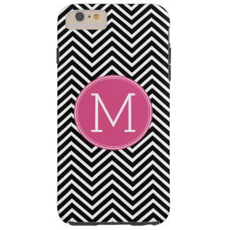 Black and White Chevrons Custom Pink Monogram Tough iPhone 6 Plus Case
