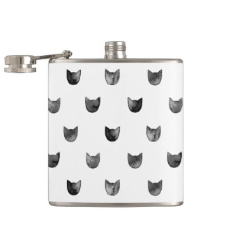 Black and White Chic Cute Cat Pattern Hip Flask