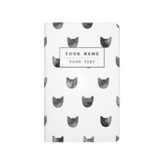 Black and White Chic Cute Cat Pattern Journals