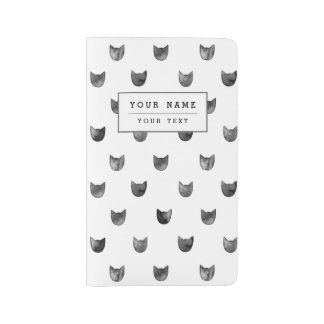 Black and White Chic Cute Cat Pattern Large Moleskine Notebook