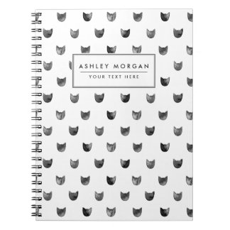 Black and White Chic Cute Cat Pattern Notebooks