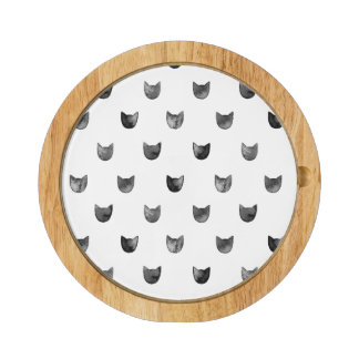 Black and White Chic Cute Cat Pattern Rectangular Cheese Board