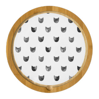 Black and White Chic Cute Cat Pattern Rectangular Cheeseboard