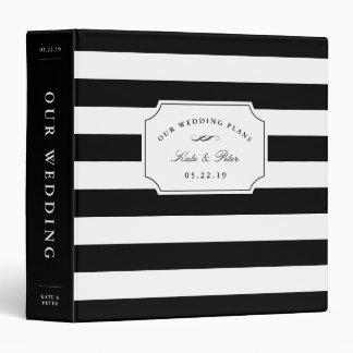 Black and White Chic Stripe | Wedding Planning Vinyl Binder