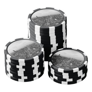 Black and White Chicago aerial view Poker Chips Set
