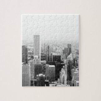 Black and White Chicago Illinois Jigsaw Puzzle