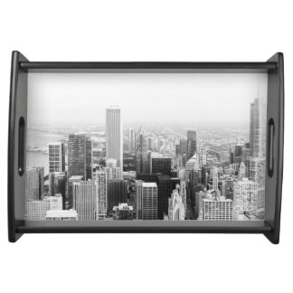 Black and White Chicago Illinois Serving Tray