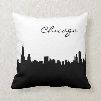 Black and White Chicago Landmark Pillow